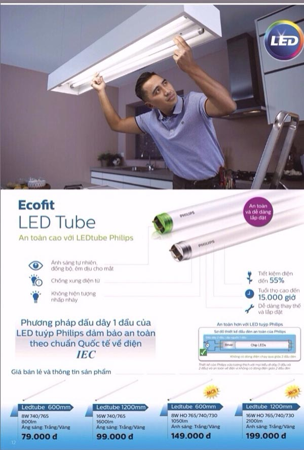 den Led Tube 1m2 16W EcoFit HO Philips