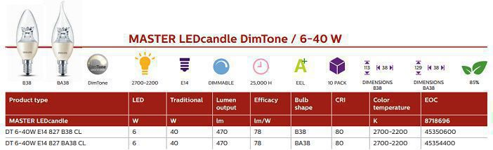 Bóng đèn MAS LED candle DT 6-40W E14 BA38 CL Philips