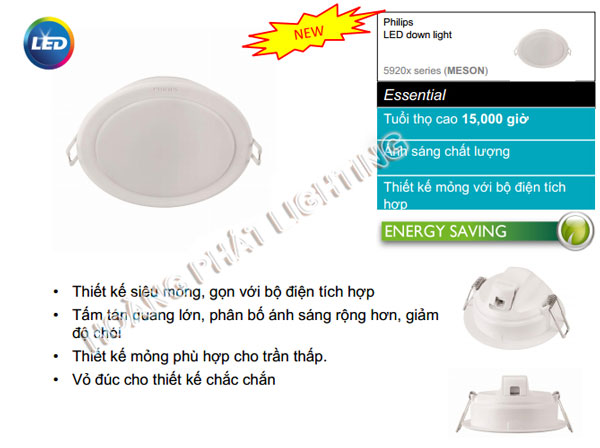 Đèn Led downlight 10W MESON 59203 Philips