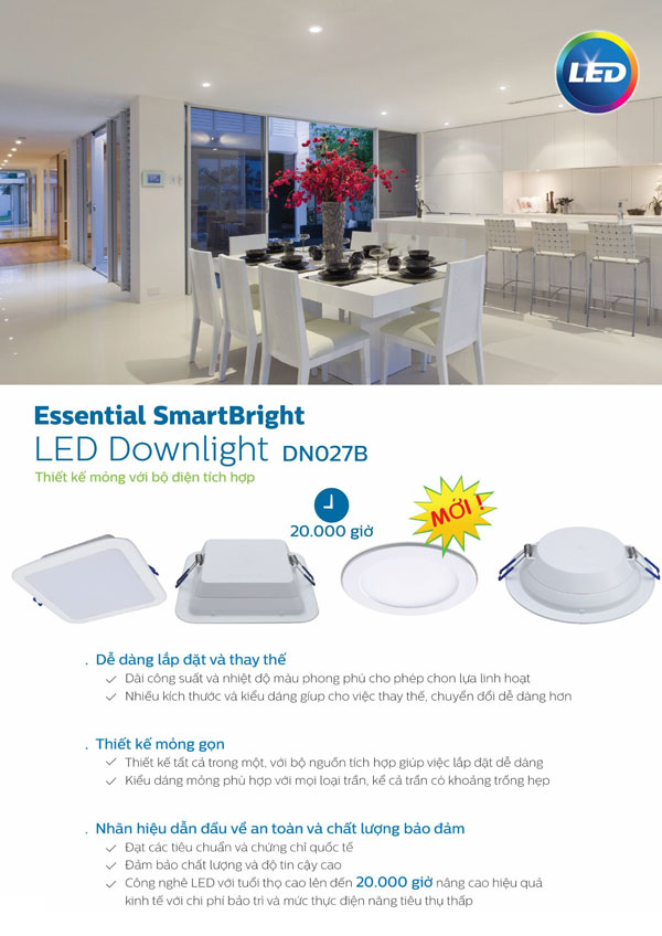 den led downlight vuong 15W DN027B Philips